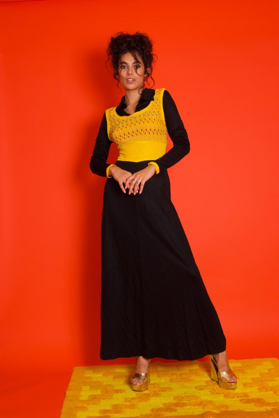 1970's Disco Preppy Black and Yellow Sweater Vest Combo Dress