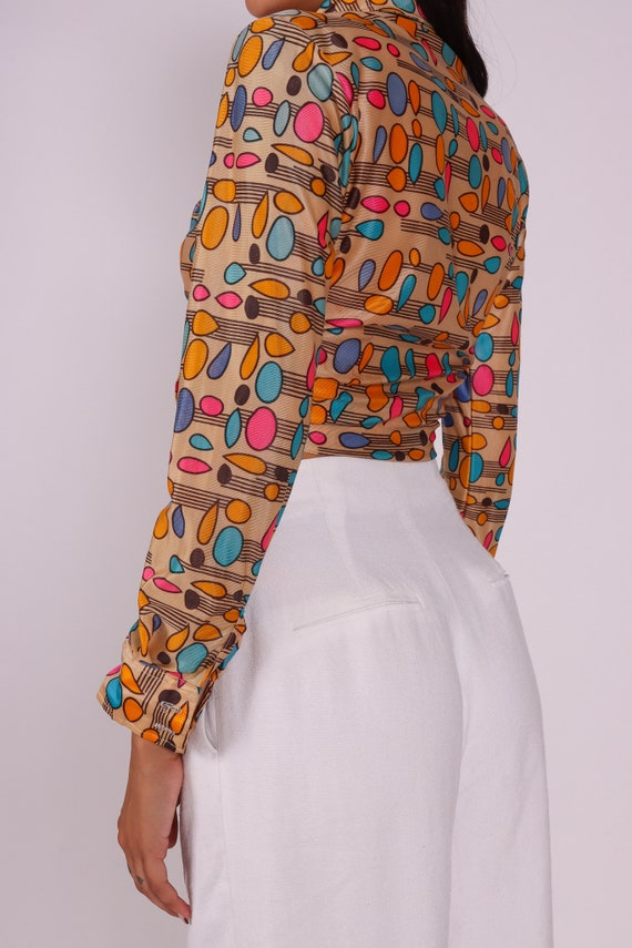 Vintage 1970's 'Take #1' Disco Button Up Blouse | Abstract | Psychedelic | Nude and Rainbow | Shapes