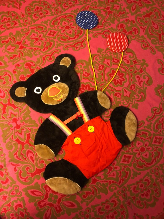 Large Vintage 1970's Kids Wall Teddy Bear Wall Hanging W/ Rainbow Suspenders and Balloons | Childrens Room