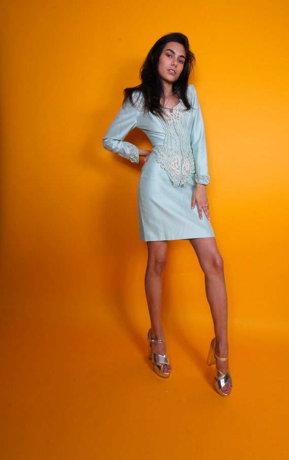 Vintage 'Lillie Rubin' Robins Egg Blue Spring Skirt Suit | Set | Pearl | Detailed | Peplum Jacket | High Waisted Skirt