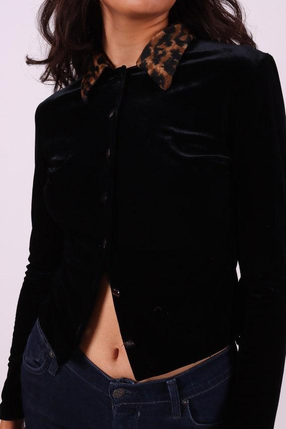 Vintage 90's 'Sharnel' Black Velvet and Leopard Faux Fur Button Up Crop Top