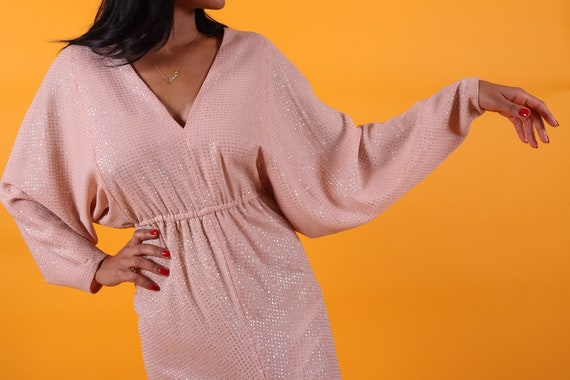 Vintage 1970's 'Dominic Rompollo' Nude Peach Dolman Sleeve Dress | Iridescent Glitter | Slit | Gown | Mermaid | Formal