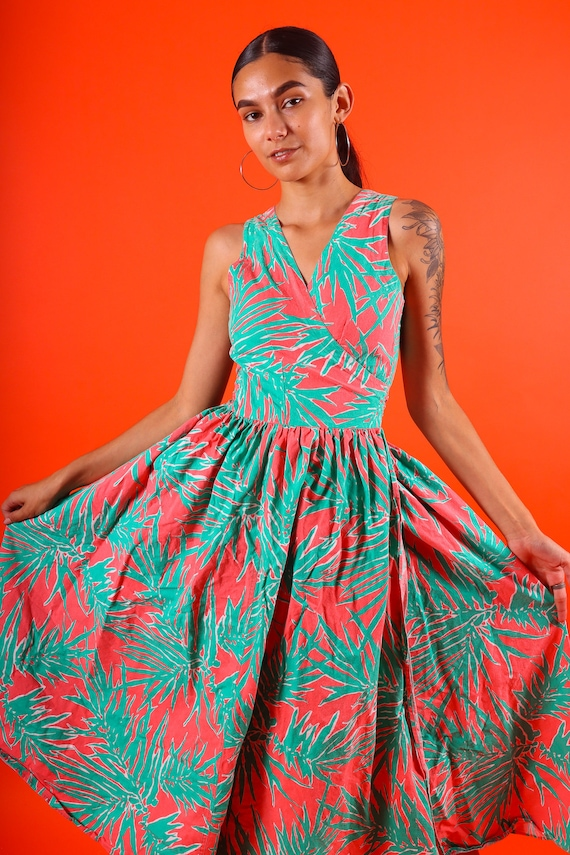 Vintage Fun Coral Orange and Green Palm Leaf Full Fun Summer Dress Made in Key West