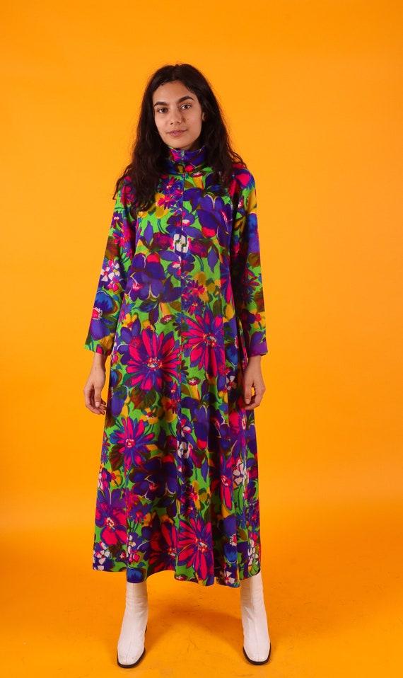 Vintage 1960's Psychedelic Boho Floral Kaftan Dress | Housedress | Colorful | Vibrant | Long Dress | Festival