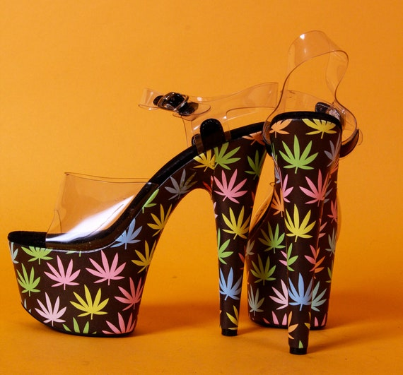 Fun and Funky 'Ellie' Festival Party Platforms Heels   Neon Cannabis Leaves   Clear Top   Sexy   Costume   Cosplay