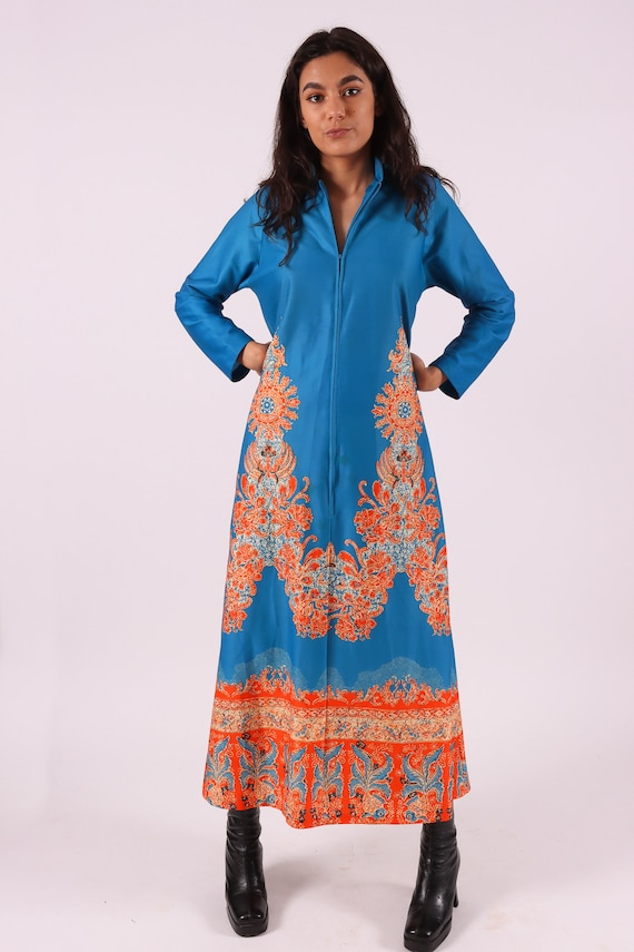 Vintage Polynesian Tiki 1970's 'Travel Lite' Vibrant Blue and Orange Kaftan Dress | House Lounge Wear
