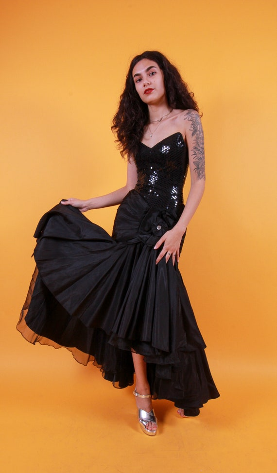 Vintage 'Lillie Rubin' Black Mermaid Barbie Gown | Flared | Sweetheart Neckline | Spanish | Ruffled | Formal Dress