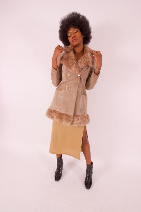 Vintage Made in Spain Taupe Suede Leather Penny Lane Coat W/ Shearling