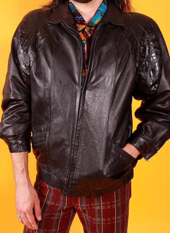 Vintage I.MAGNIN Black Leather Tooled Design Jacket | Double Zipper | Motorcycle | Avant Garde
