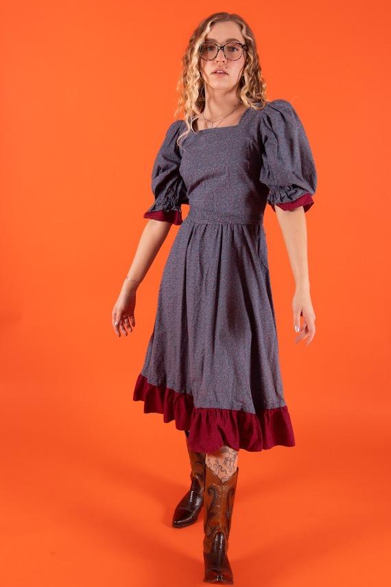 Vintage 1970's 'PBJ' Praire Boho Country Blue Dress W/ Mini Flower Detail