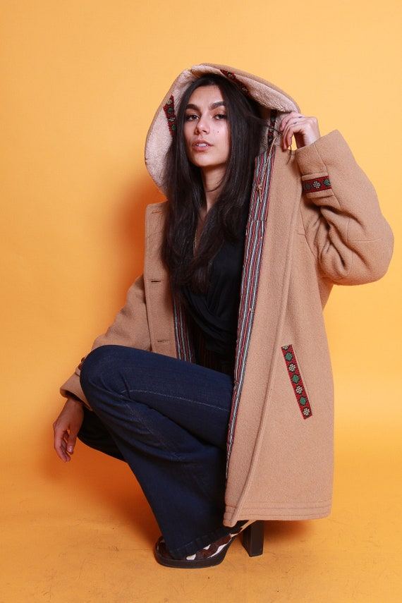 Vintage 1970's Penny Lane Tan Coat W/ Embroidered Detail and Hood | Unique Boho Style