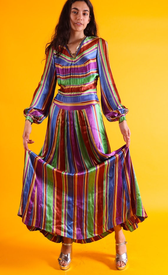 Vintage 1940's Candy Striped Dress Does Disco Queen 1970's Vibes | Long | Authentic 1940's | Timeless | Silk | Spring Gown