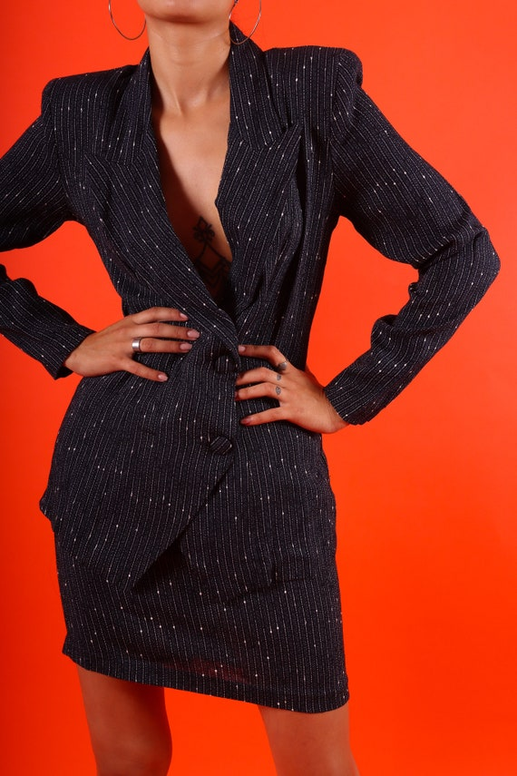 Vintage 90's 'Rampage' Navy Blue and White Striped Two-Piece High Waisted Skirt and Blazer Suit