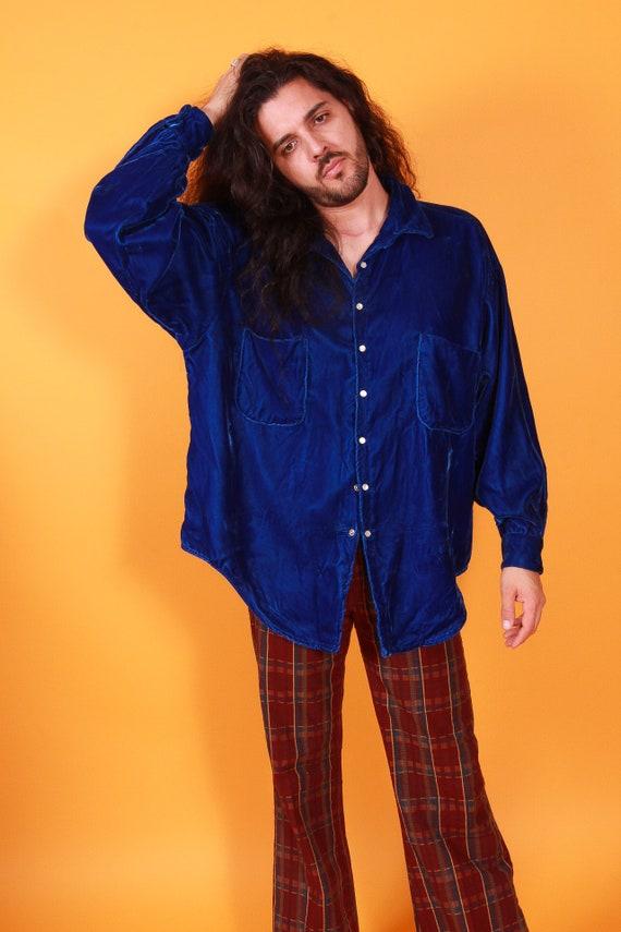 Vintage Blue Velvet Snap Button Up Men's Blouse | Top | Jimmi Hendrix | Soft | Rockstar | Boho