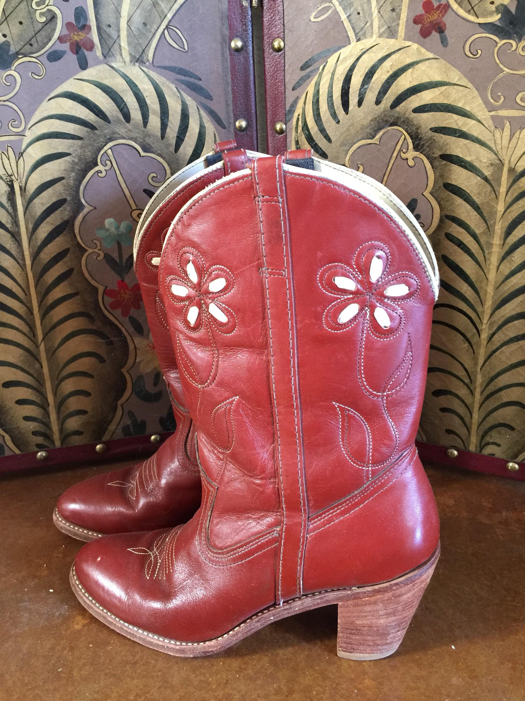 5e021c75d7c Vintage 'Dingo' Red Leather Daisy Cowboy Boot | Flower | Cuban ...