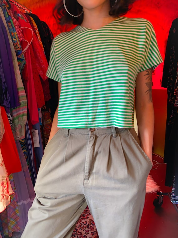 Vintage 80 - 90's Green and White Striped Unisex Crop Top