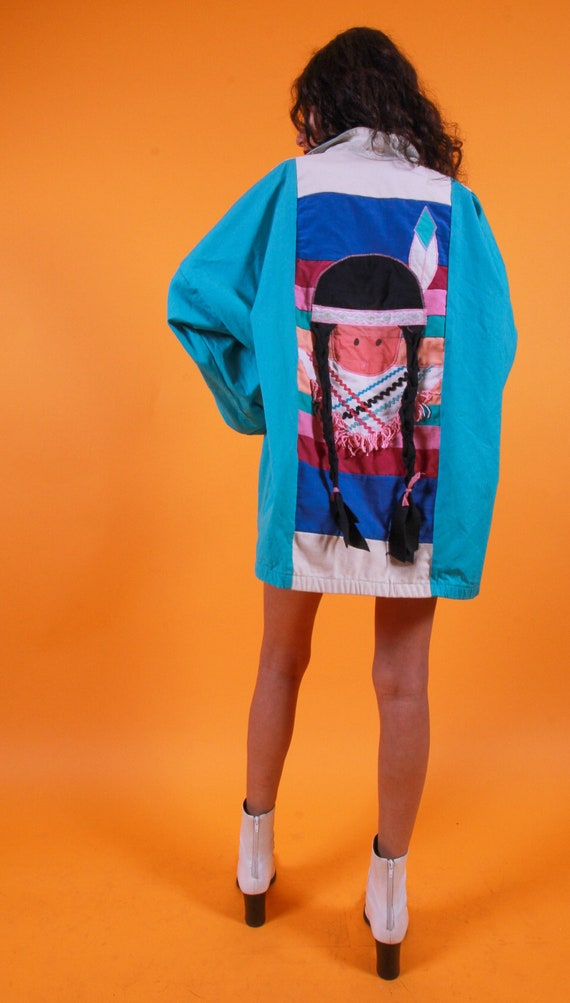 Vintage 90's Oversized Aztec Pattern Jacket | Girl With Braids | Festival Jacket | Unisex | Blue and White | Summer Style