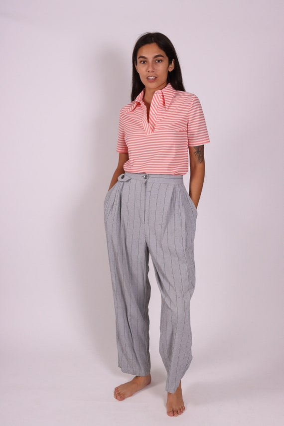 Vintage 'CC Magic' High Waisted Grey Trouser Pant | Striped | Relaxed Fit