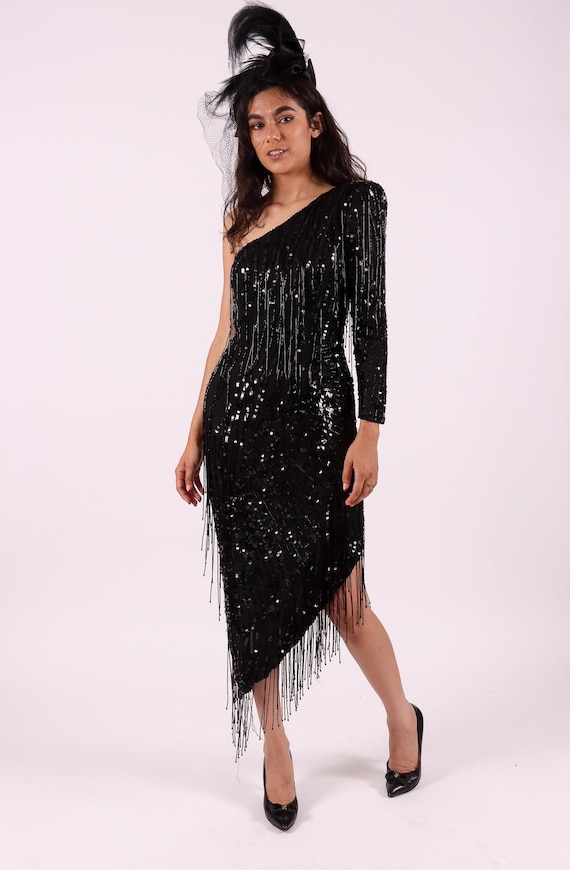 Vintage 'Nite' All Black Sequin and Beaded Sexy Dress | Chandelier Beading | Asymmetrical | Salsa | Formal