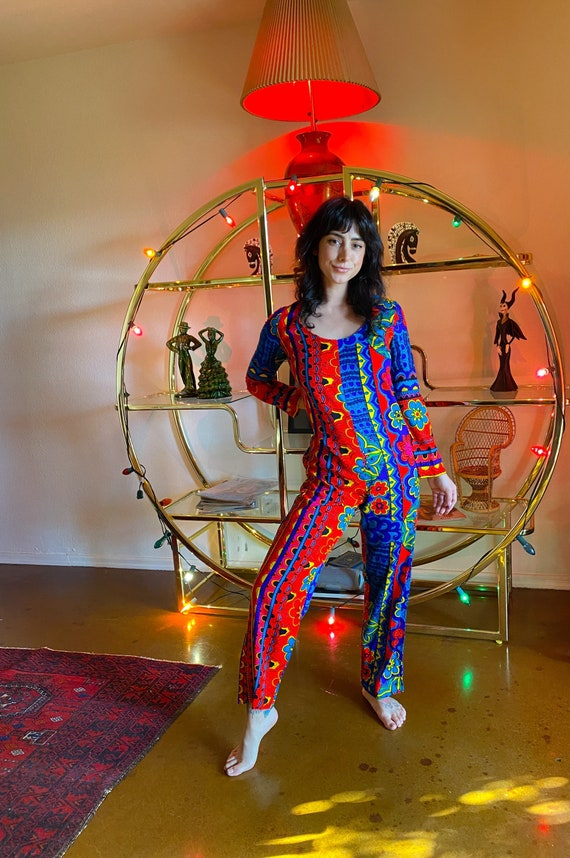 Vintag 1960's Retro Psychedelic Colorful Rainbow Boho Jumpsuit