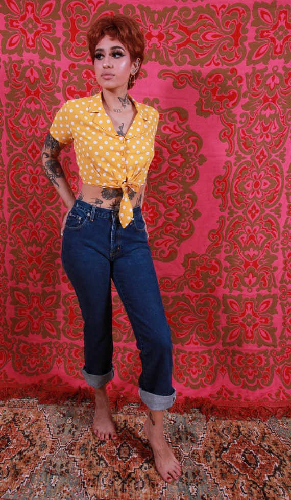 Vintage 90's 'Express Blues' Dark Blue Jeans | High Waisted | Rockabilly | Boho | Festival | Americano | Greaser