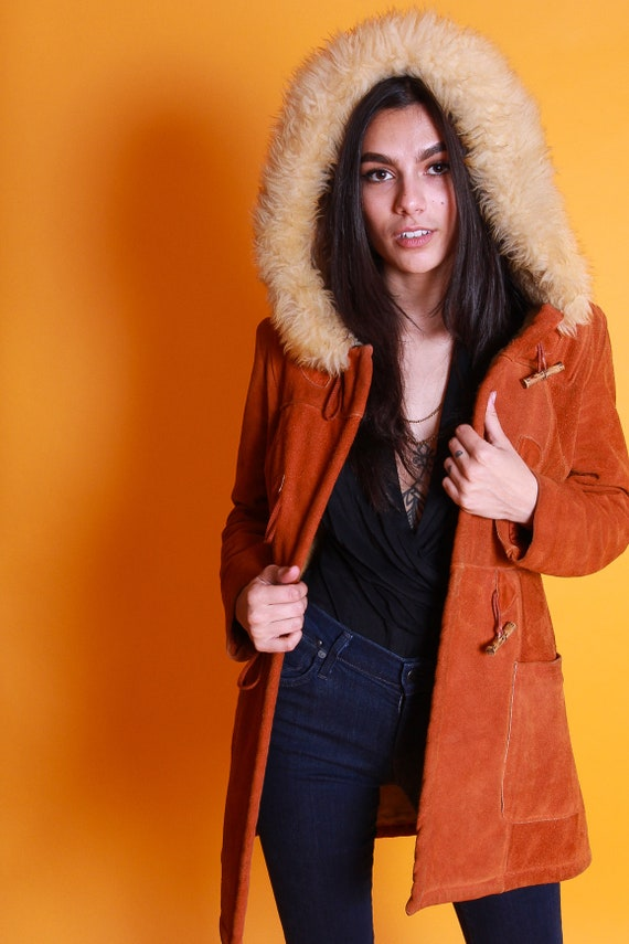 Vintage 1970's Penny Lane Rust Terra-Cotta Suede W/ Plush Shearling Lining and Large Shearling Hood