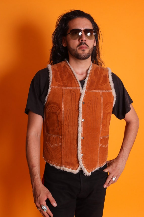 Vintage 1970's Men's Genuine Leather Shearling Lined Dress W/ Tool Art   Western   Cowboy   Festival   Boho   Saguaro   Desert