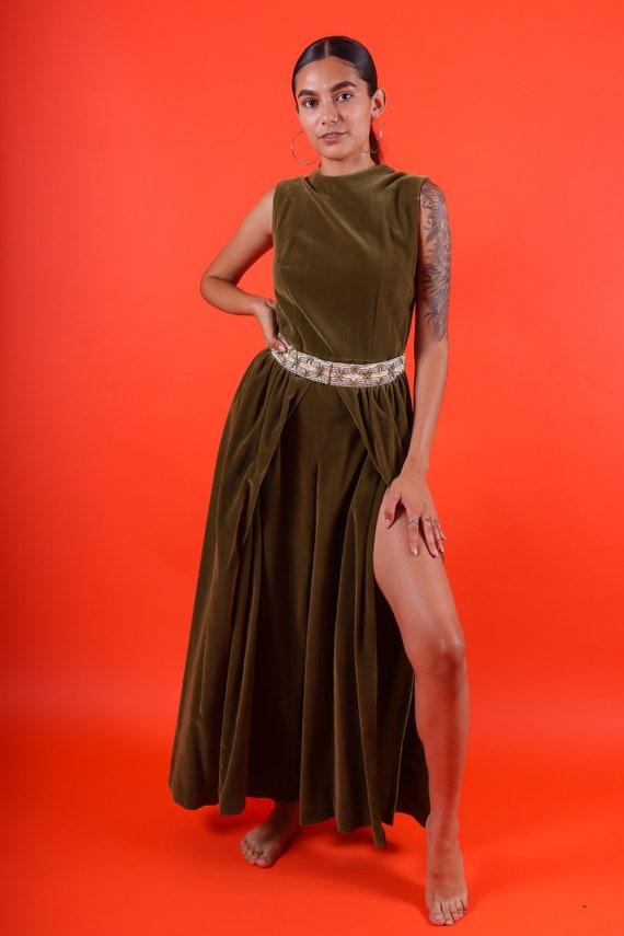 Vintage 1960's Olive Green Velvet and Gold Renaissance Bohemian Jumpsuit