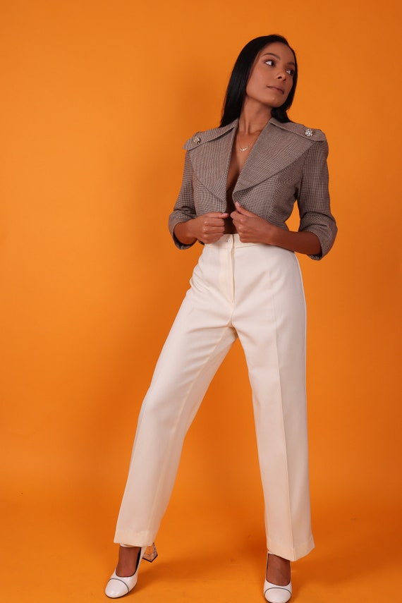 Vintage 'Bending Easy Mervyns' 1970's White High Waisted Trouser Pants | Disco Pant | Professional