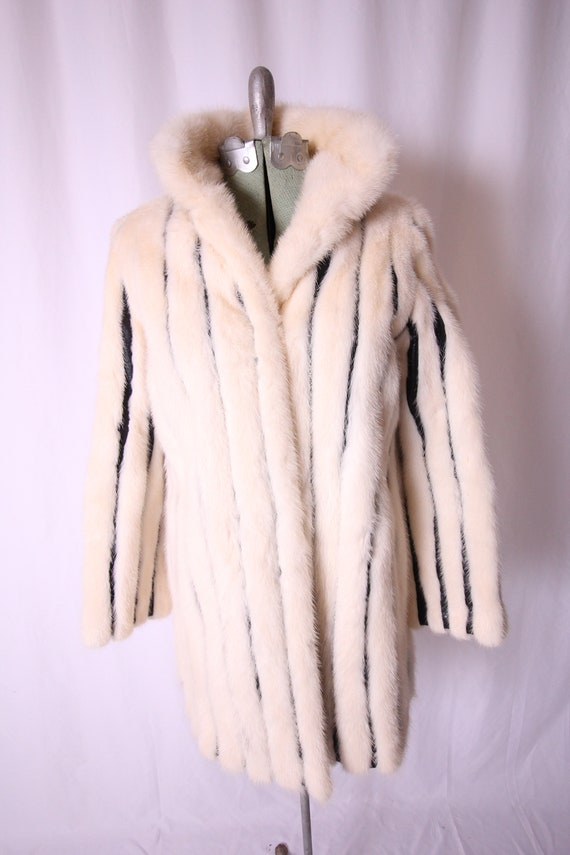 Vintage I.MAGNIN White Mink Fur Coat | Black Leather Stripes | Winter Coat | Costume | Avant Grade | Unique