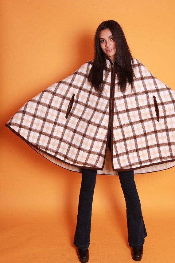 Vintage Shawl Poncho W/ White and Chocolate Brown Plaid | Retro and Cozy