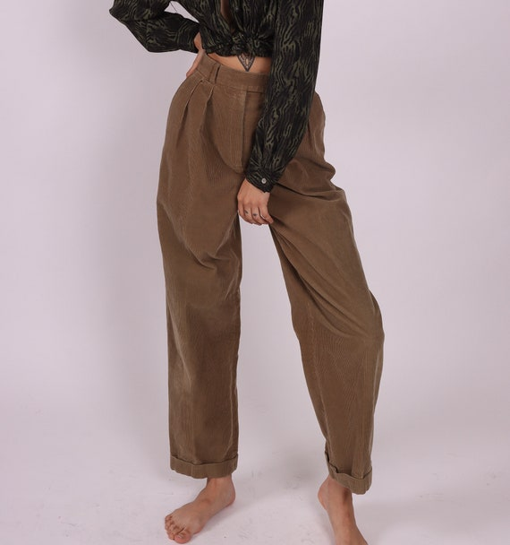 Vintage 'Bernard Zins' Paris High Waisted Corduroy Cuffed Trouser Pants | Pleated | Casual and Comfortable