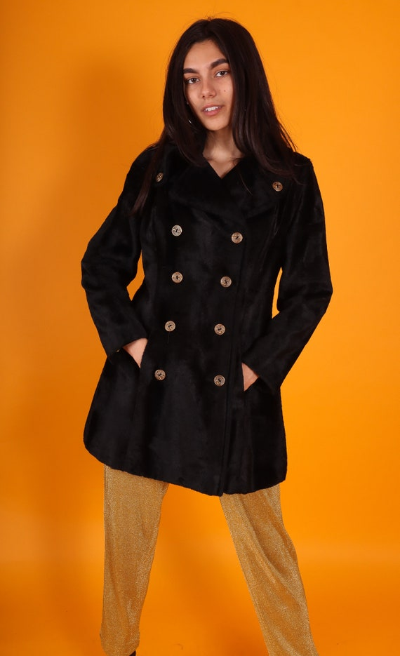 Vintage 1960's Black Faux Fur Soft Peacoat | Velvet | Nautical Buttons | Goth | Avant Garde Coat