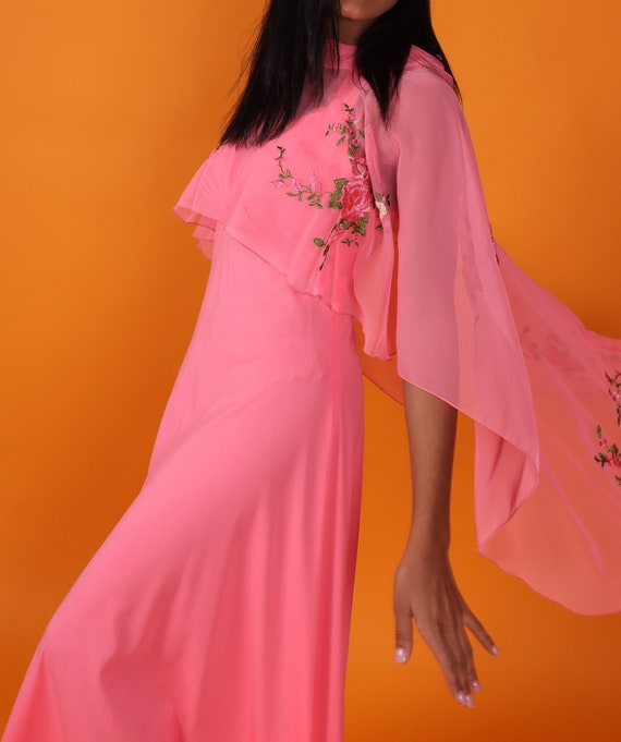 Vintage 1970's Hot Pink Disco Boho Dress W/Long Sheer Embroidered Floral Cape | Wedding | Spring