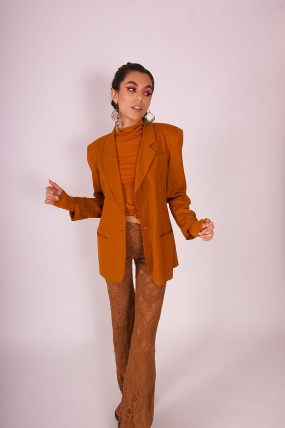 Vintage 90's 'Casual Corner' Terra-Cotta Brown Linen Blazer Jacket