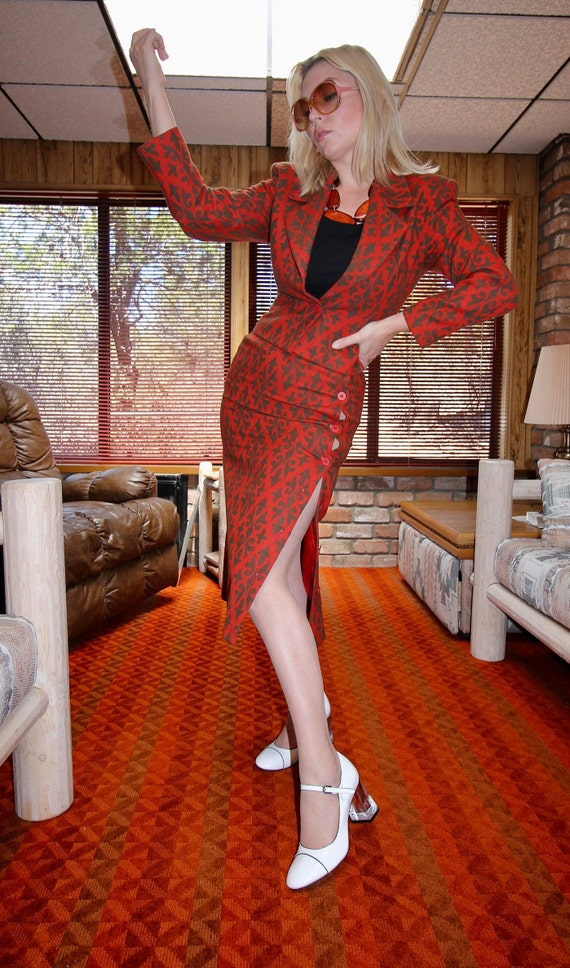 Vintage 'Henry Grethel' Rare 1960's - 70's Retro Red and Olive Green Skirt Suit | Professional | Boho | High Waisted Skirt | Blazer