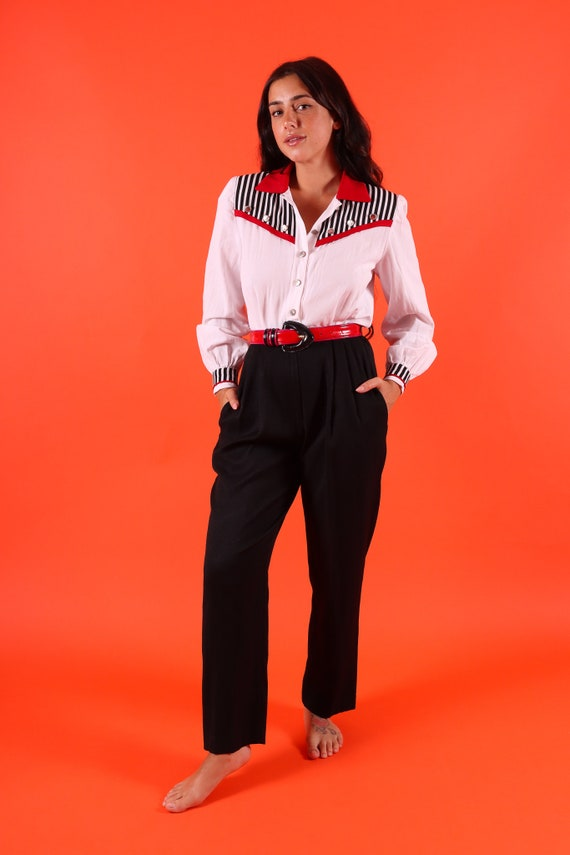 Vintage 'J.S.J. Petites' 90's Black and White Nautical Jumpsuit W/ Red Piping