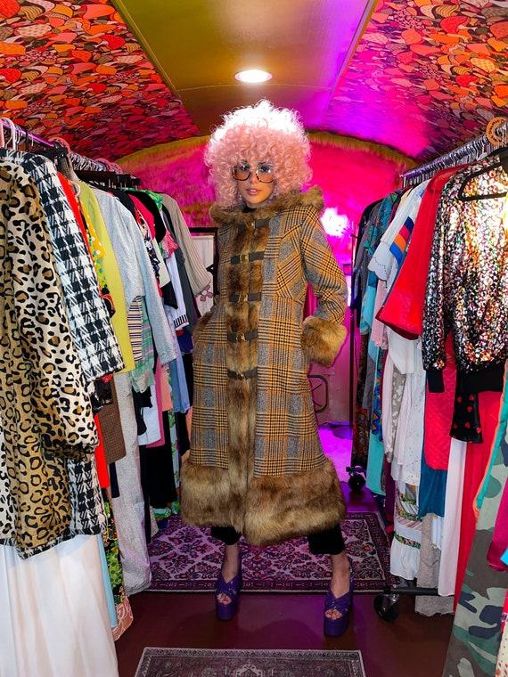 Vintage 1970's Penny Lane Faux Fur Hooded Brown Tweed Coat