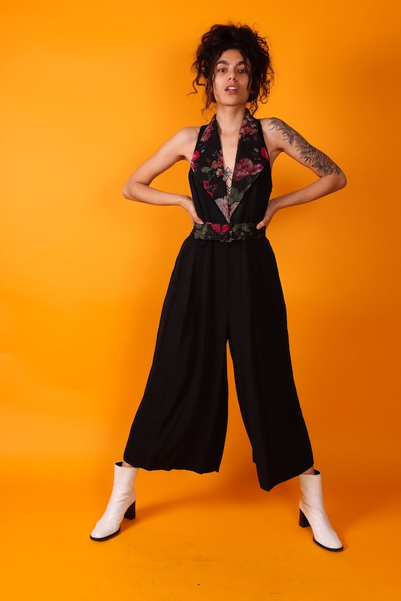 Vintage Rare 'By Choice' 90's Black W/ Sheer Floral Jumpsuit | Wide Leg | Sexy | Unique | Belted