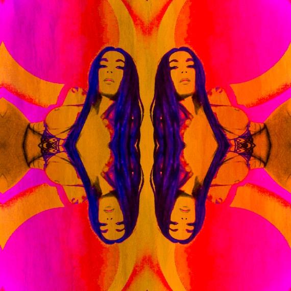 Original Art Vintage 1960 - 70's Psychedelic Mirrored Album Photography Print