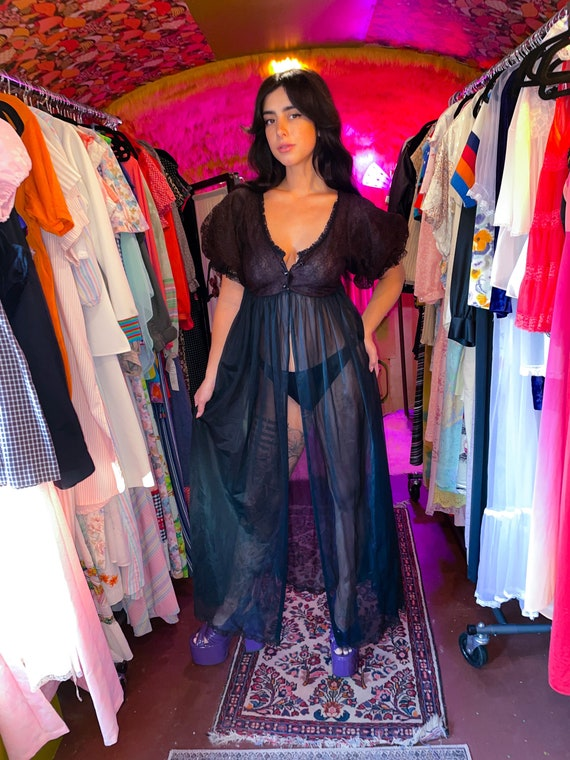 Vintage Black Sheer and Lace Lingerie Duster Dress W/ Dramatic Sleeves