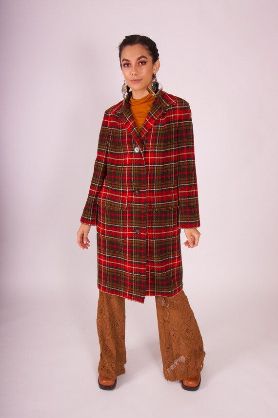 Vintage Authentic 1950's 'Pendleton' Taditional Classic Red and Brown Plaid Coat