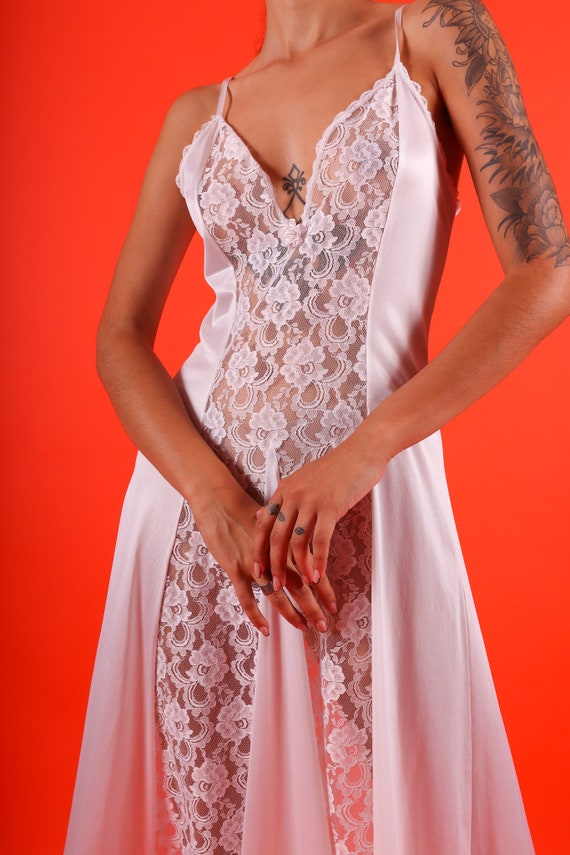 Vintage 1970's 'Fantasy' All White Long Nightgown Dress W/ Sheer Lace Panels