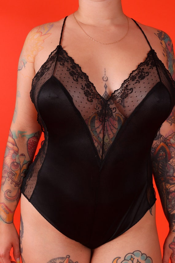 Vintage Sexy 1970's Black Sheer Lace Criss-Cross Strap Open Back Lingerie