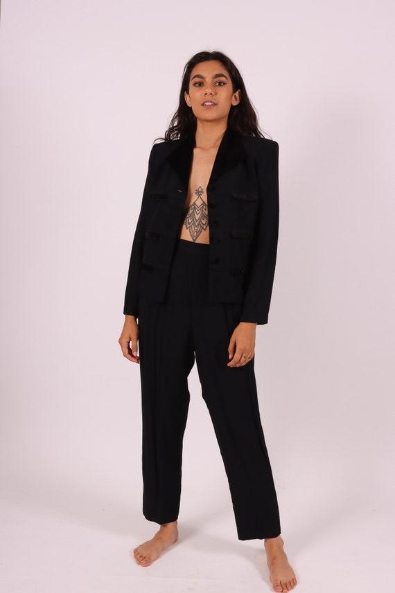 Vintage 'Dani Max' 90's Black Pant Suit W/ Unique Black Jacket W/ Velvet Details and High Waisted Pants