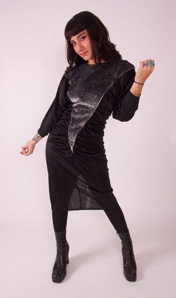 Vintage 'Stash' Sexy Black Silver Lamé V Shaped Disco Party Dress