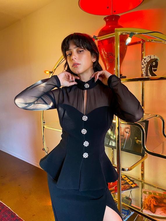 Vintage Pin Up 90's 'Lillie Rubin' Sexy Black High Waisted Skirt and Sheer Sleeve Peplum Jacket Set