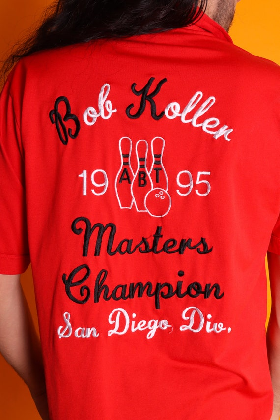 Vintage 1995 'Bob Koller Champions'' San Diego Looks 70's Embroidered Bowling League Collared Shirt | Red | Men's Vintage 'Bob Holler'