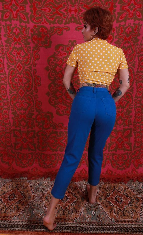 Vintage 'Rustic' Royal Blue High Waisted Jeans | Skinny Jeans | Peacock Blue | Boho | Festival