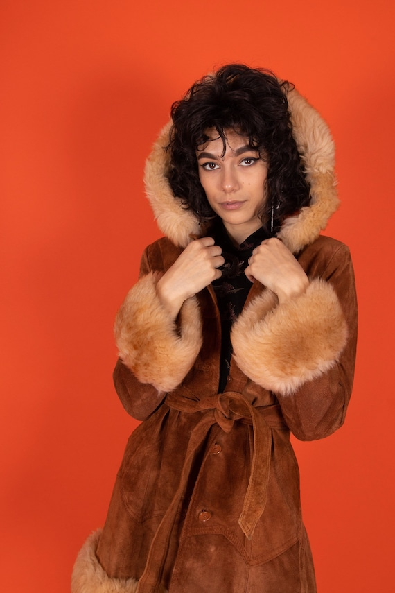 Vintage 1970's Terracotta Brown Suede and Shearling Fur Hood Penny Lane Coat